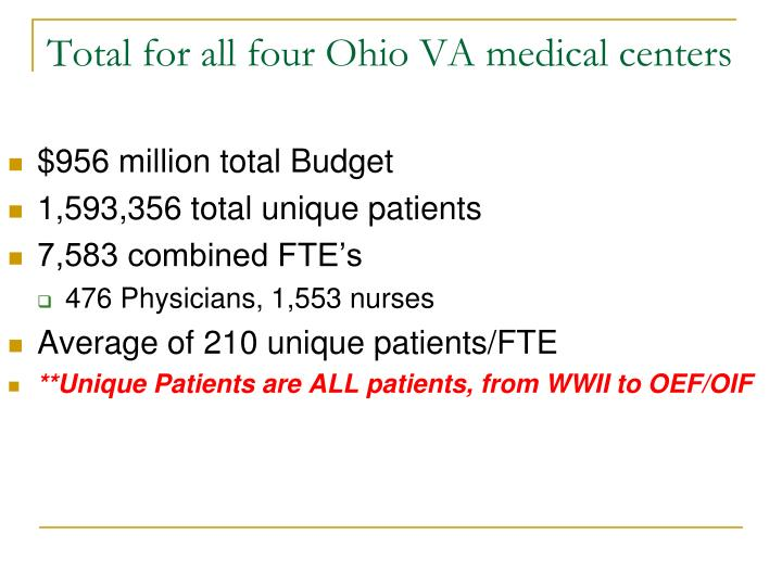Total for all four Ohio VA medical centers