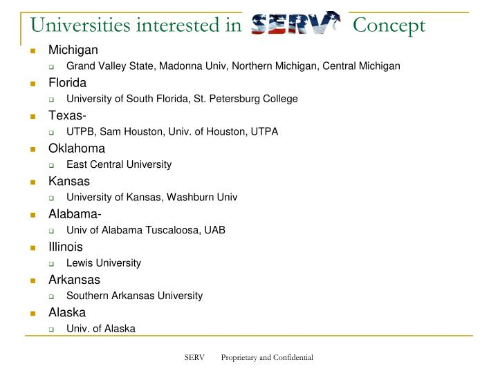 Universities interested in                    Concept