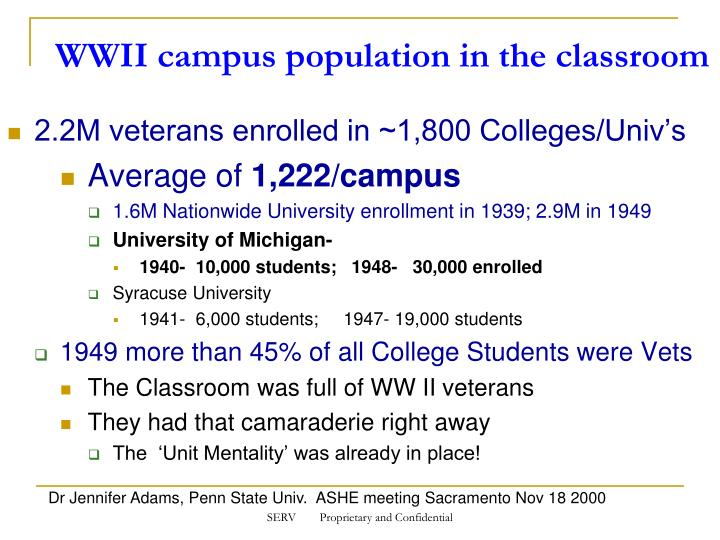WWII campus population in the classroom