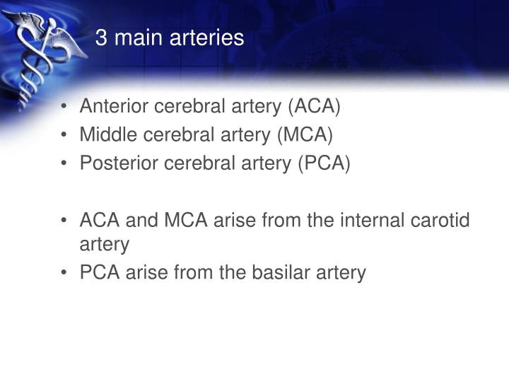 3 main arteries