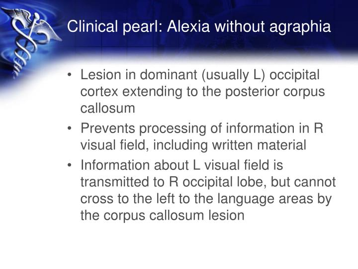 Clinical pearl: Alexia without
