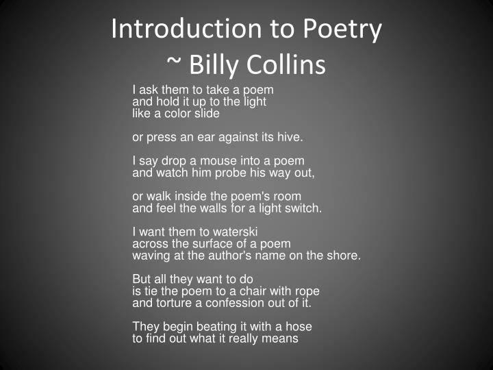 introduction to poetry representation An introduction to post-colonialism, post-colonial theory and  post-colonial literature  where does it come from post-colonial literature comes from britain's former colonies in the caribbean, africa and.