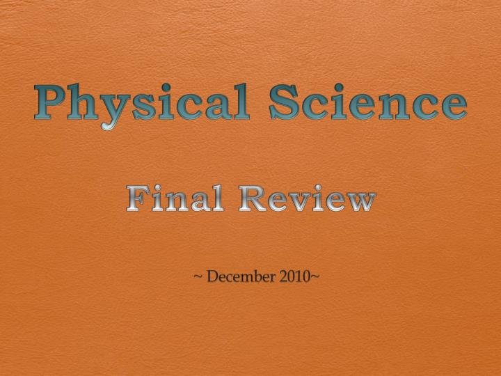physical science final review n.