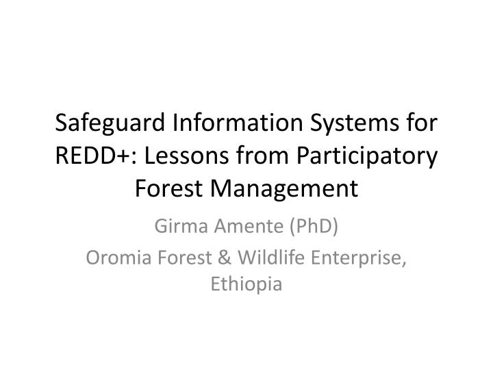 safeguard information systems for redd lessons from participatory forest management