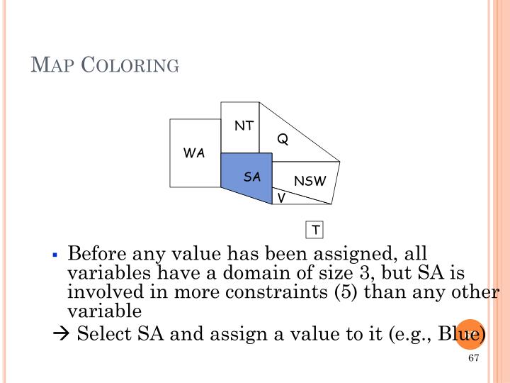 Before any value has been assigned, all variables have a domain of size 3, but SA is involved in more constraints (5) than any other variable