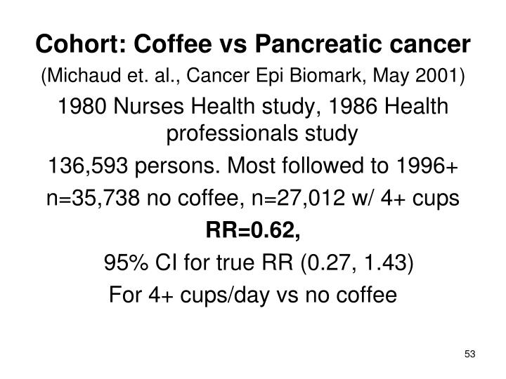 Cohort: Coffee vs Pancreatic cancer