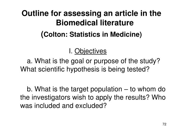 Outline for assessing an article in the Biomedical literature