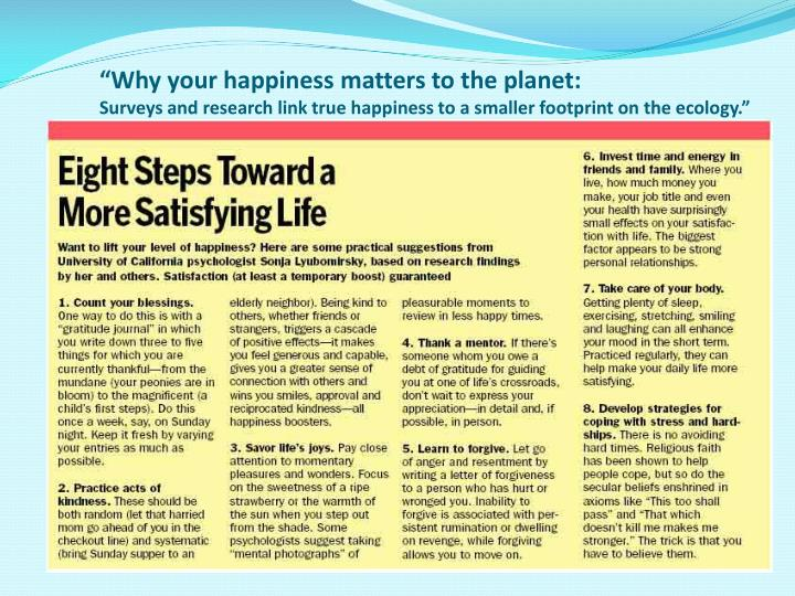 """""""Why your happiness matters to the planet:"""