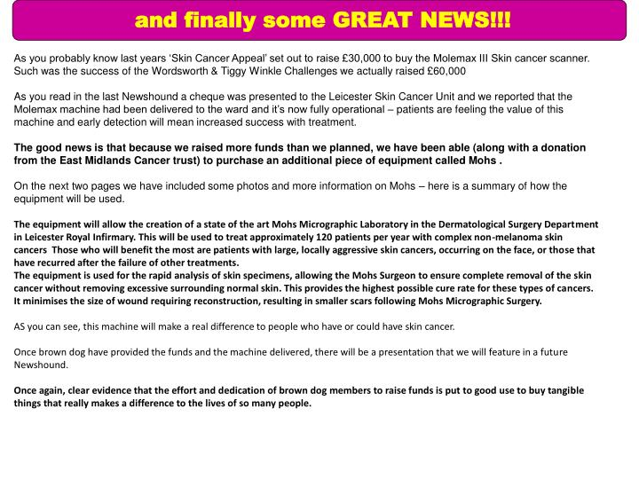 and finally some GREAT NEWS!!!