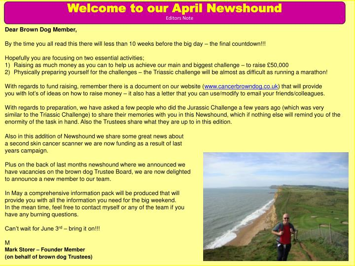 Welcome to our April Newshound