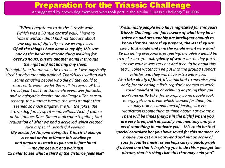 Preparation for the Triassic Challenge