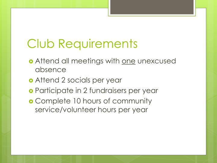 Club requirements