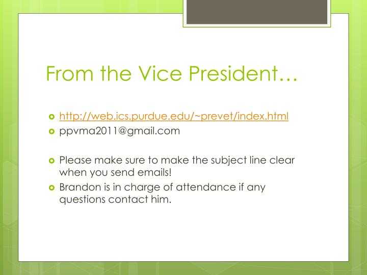 From the Vice President…
