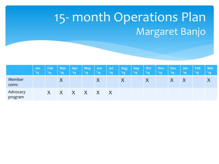 15- month Operations Plan