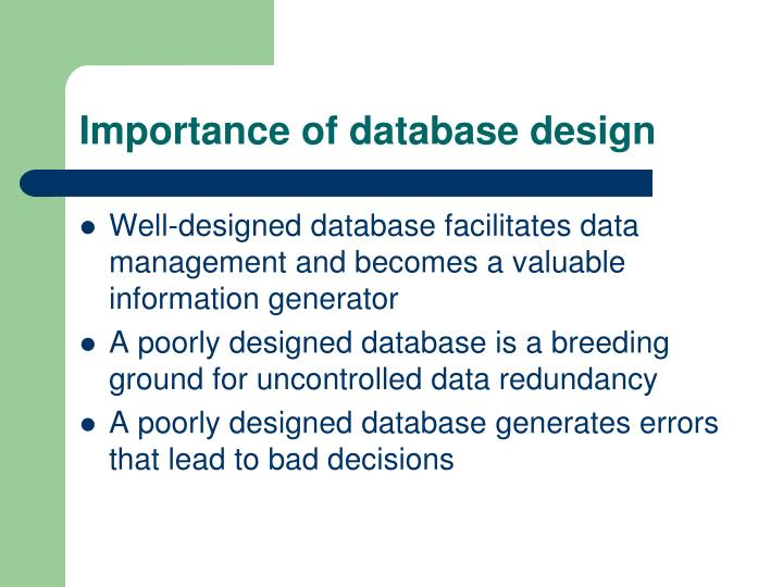 importance of use of database Characteristics and benefits of a database there are a number of characteristics that distinguish the database approach from the file-based system or approach this chapter describes the benefits (and features) of the database system.