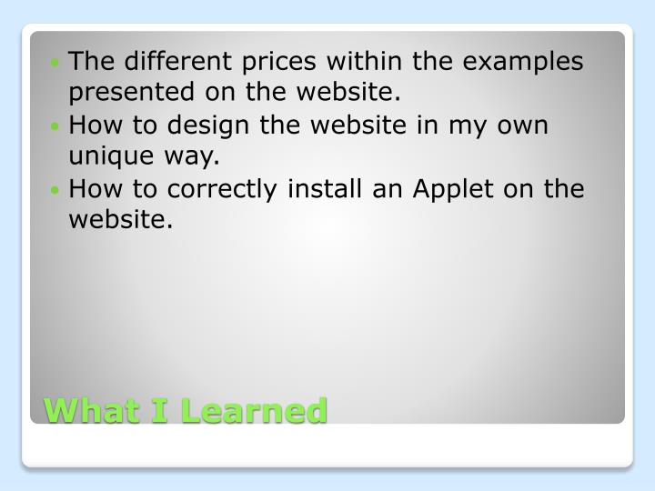 The different prices within the examples presented on the website.