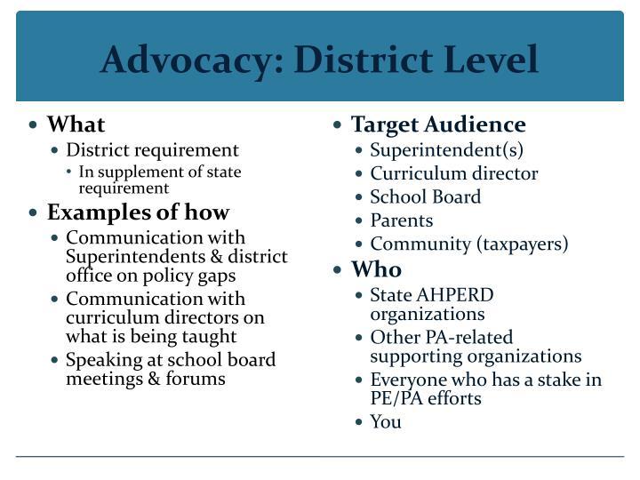 Advocacy: District Level