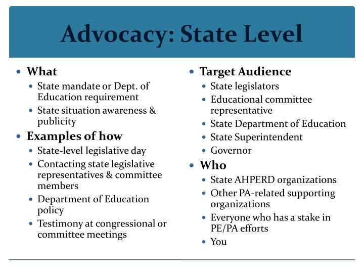 Advocacy: State Level