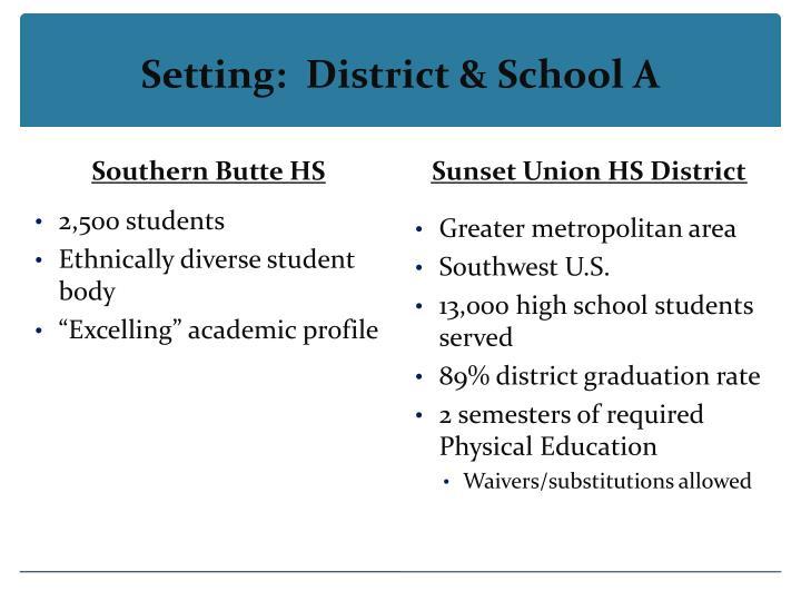 Setting:  District & School A