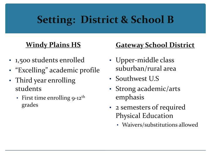 Setting:  District & School B