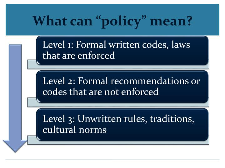 What can policy mean