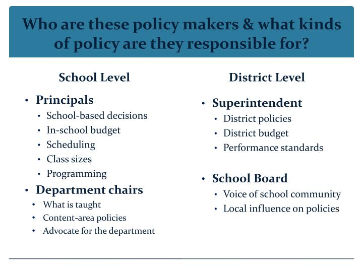 Who are these policy makers & what kinds of policy are they responsible for?
