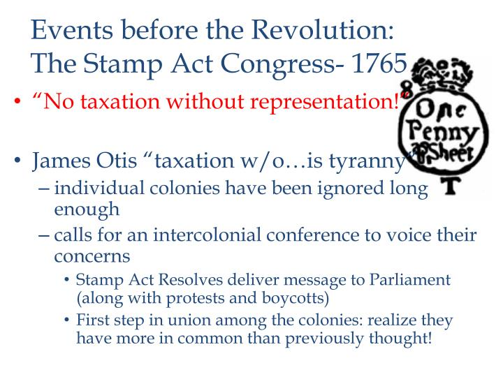 Events before the Revolution: