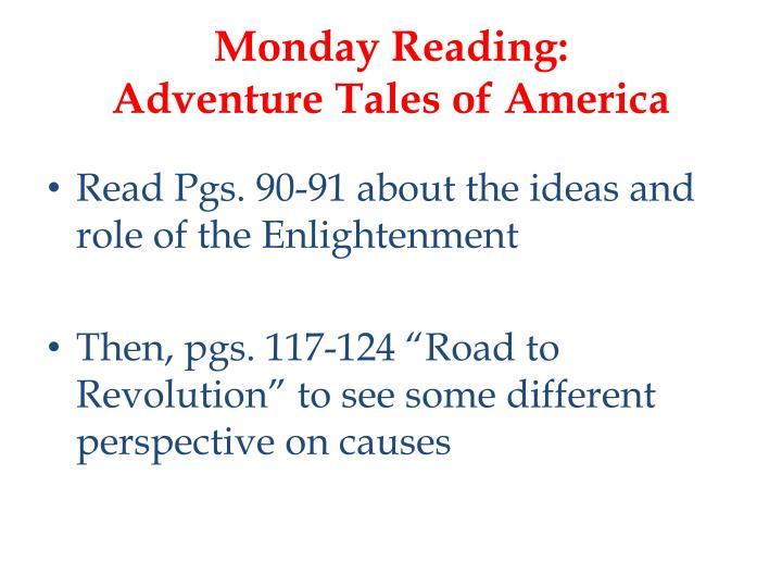 Monday reading adventure tales of america