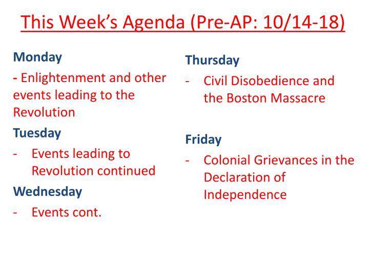 This week s agenda pre ap 10 14 18