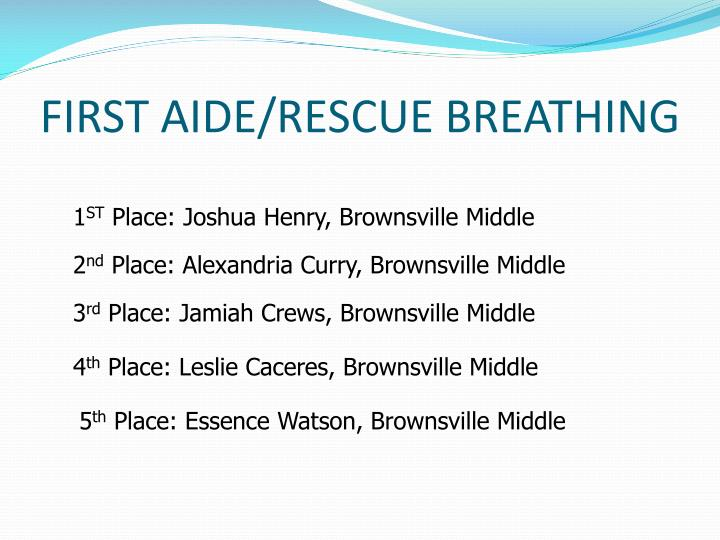 FIRST AIDE/RESCUE BREATHING