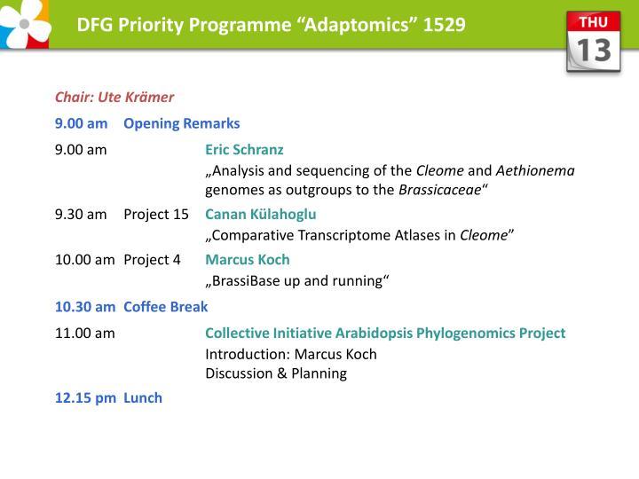 "DFG Priority Programme ""Adaptomics"" 1529"