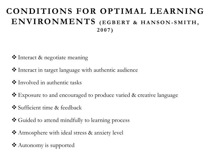 Conditions for Optimal Learning Environments