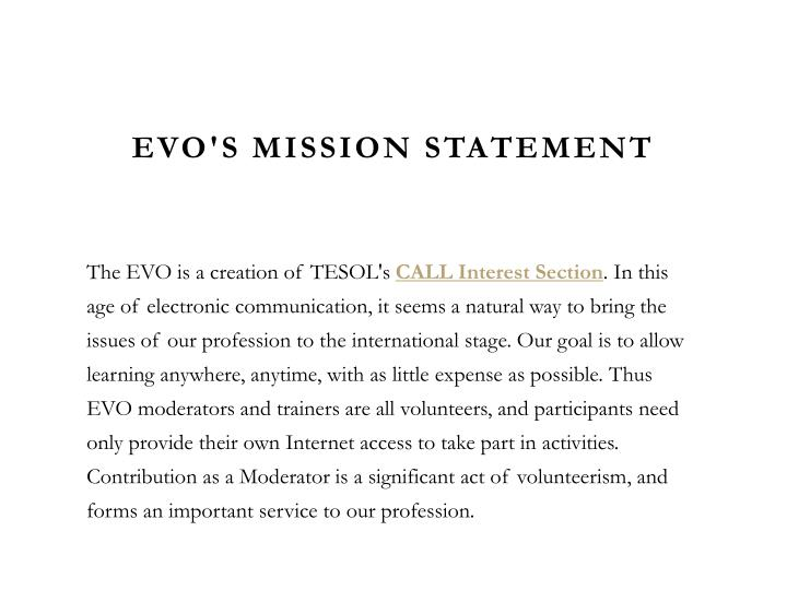 EVO's Mission Statement