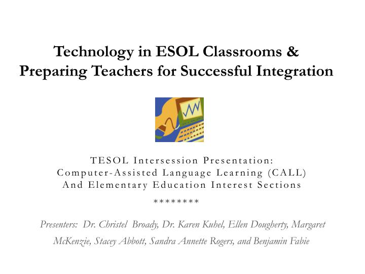 Technology in ESOL Classrooms & Preparing Teachers for Successful Integration