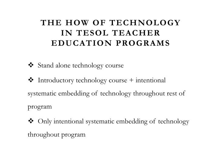 The How of Technology in TESOL Teacher Education
