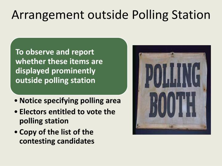 Arrangement outside Polling Station