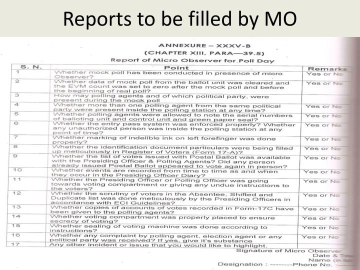 Reports to be filled by MO