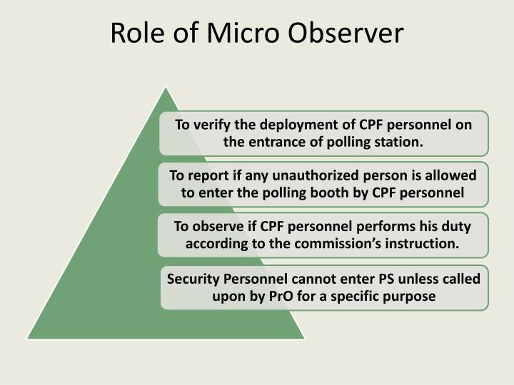 Role of Micro Observer