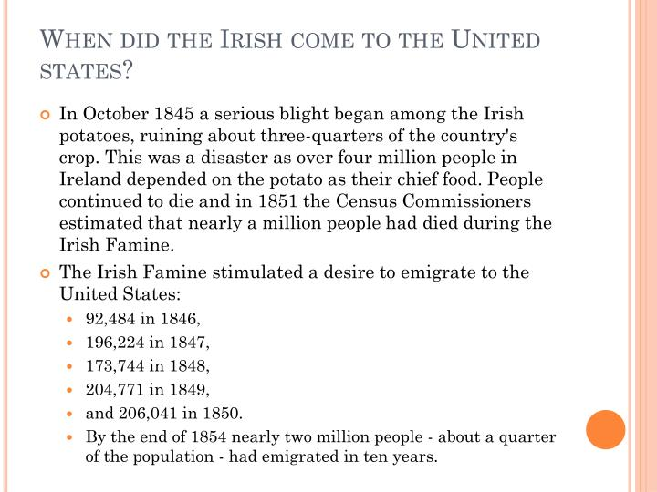 a study of the irish immigration to america Immigrants in the united states: primary sources find to the study of immigration to the and pathbreaking study of early irish protestant and.
