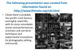 the following presentation wa s created from information found at http www filmsite org citi html