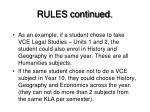 rules continued
