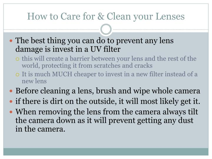 How to Care for & Clean your Lenses