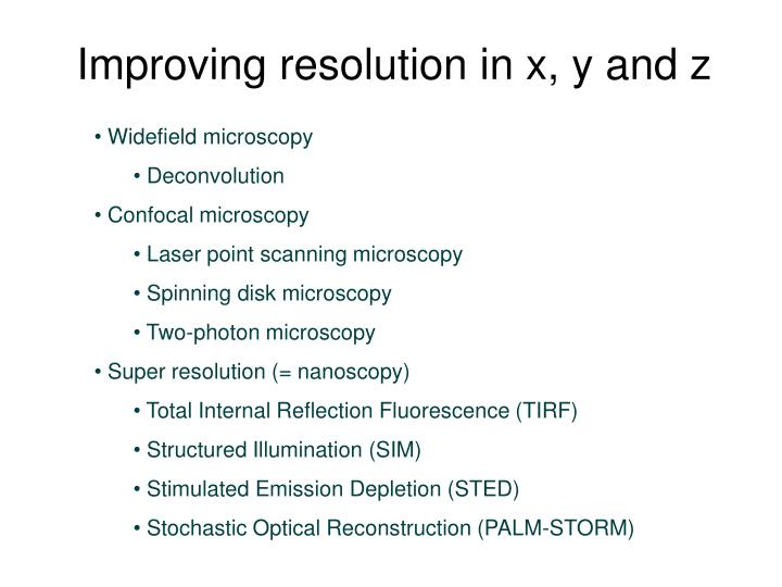 Improving resolution in x, y and z