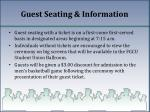guest seating information