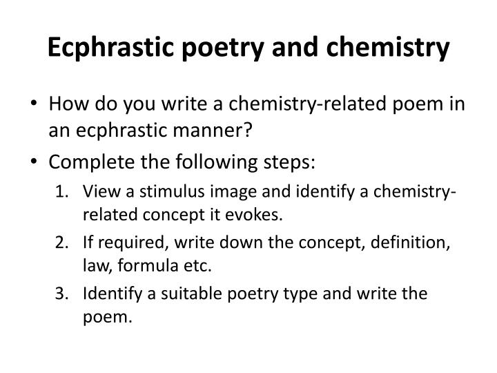 Ecphrastic poetry and chemistry
