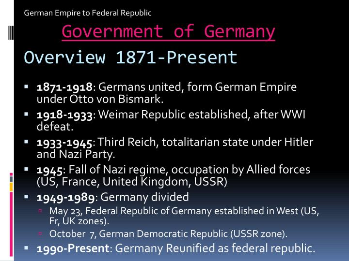 German Empire to Federal Republic