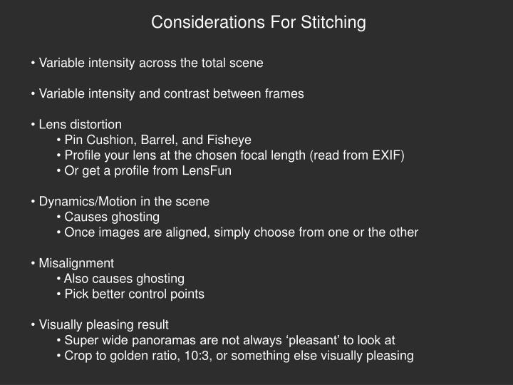 Considerations For Stitching
