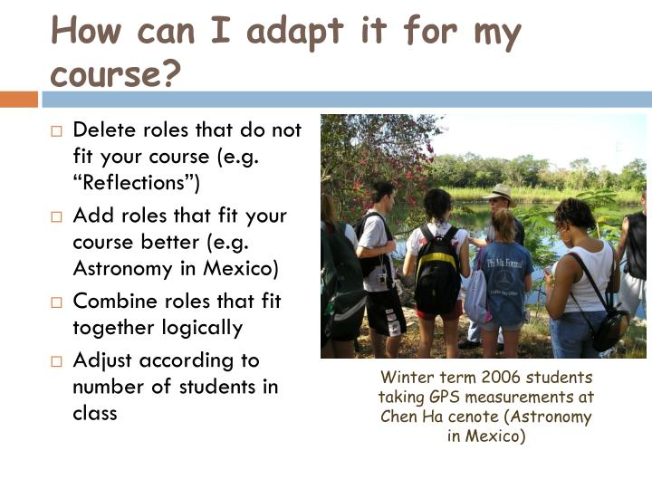 How can I adapt it for my course?