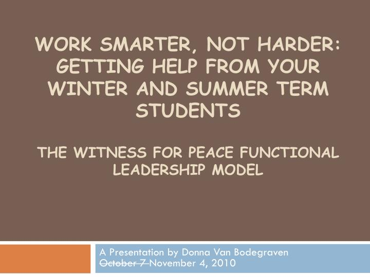 Work smarter, not harder: Getting help from your winter And summer term students