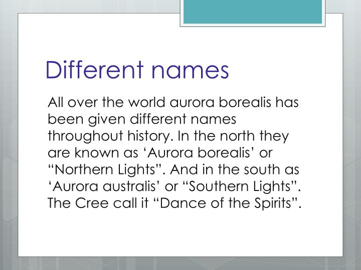 Different names